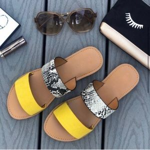Vegan Leather Yellow and Snake Print Sandals
